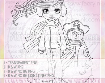 Snowman Pirate Girl Winter Fun UNCOLORED Digital Stamp Image Adult Coloring Page jpeg png jpg Fantasy Craft Fae Cardmaking Papercrafting DIY