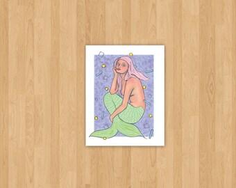Mermaid Art Print, Colorful Original Illustration Print, Choose a size