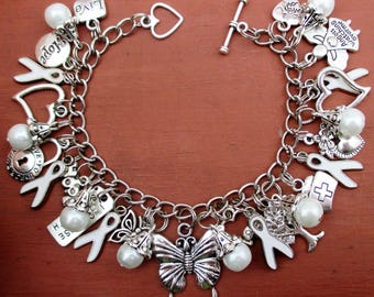 NEW Butterfly White Awareness Charm Bracelet Lung Cancer Peace Adoptees Emphysema Mesothelioma