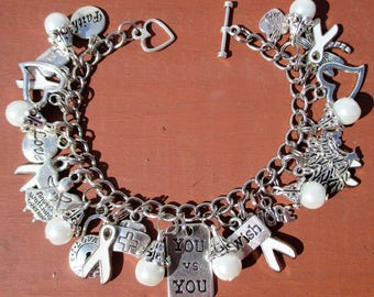 NEW You vs You White Awareness Charm Bracelet Lung Cancer Peace Adoptees Emphysema Mesothelioma