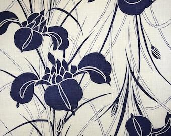 Indigo Ayame Vintage Japanese cotton kimono fabric