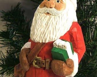 Santa Claus Bearing Gifts Wood Carving Art Sculpture Home Decor