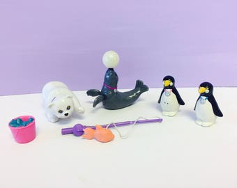 Vintage Littlest Pet Shop, Zoo Polar Pets, Generation 1 LPS, Penguin, Polar Bear, Seal, 1990s Littlest Pet Shop, 1990s Kenner, 1990s Toys