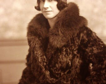 1920s Photograph Woman in Cloche Hat Fur Coat Studio Photo Sepia