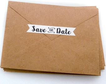 Save the Date Sticker - 40 Count - 22 Colors - Envelope Seal - 3.0 x 0.5 in. - Save the Date Seal - Wedding Sticker - Flag Sticker - WS1