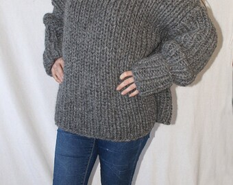 To order !!! 2,5kg Lopi chunky turtleneck sweater hand knitted island jumper 100% virgin wool by Strickolino