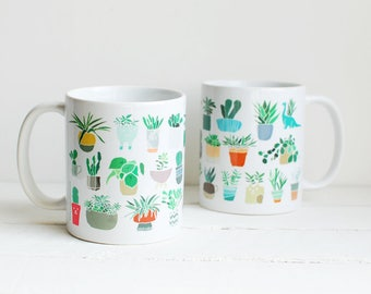 Succulent coffee mug for plant lady - cute gift for mum - illustrated potted plants - shelfie plant themed - unique coffee mugs