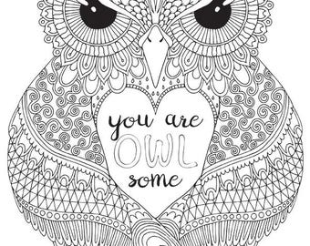 HELLO ANGEL - You are OWLsome Colouring Page