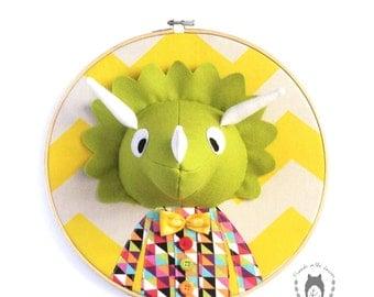 Custom triceratops embroidery hoop wall art, 3D dino portrait, 3D wall art, nursery decor, animal portrait, wall hanging, dinosaur room