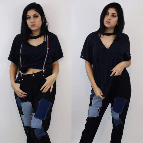 90's Holey Distressed Vneck Tee - Medium Large Ripped Grunge T Shirt - UNISEX 1990s Black Grungy Worn Men Women Cutoff V Neck Strappy Top