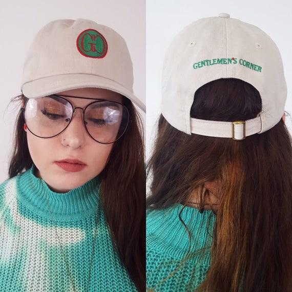 80's Gentlemen's Corner Dad Hat - Tan Green Red Vintage Baseball Hat with Logo - Adjustable Back Retro Hat Black Vintage Accessory Unisex
