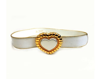 Escada heart buckle white gold belt 1980s