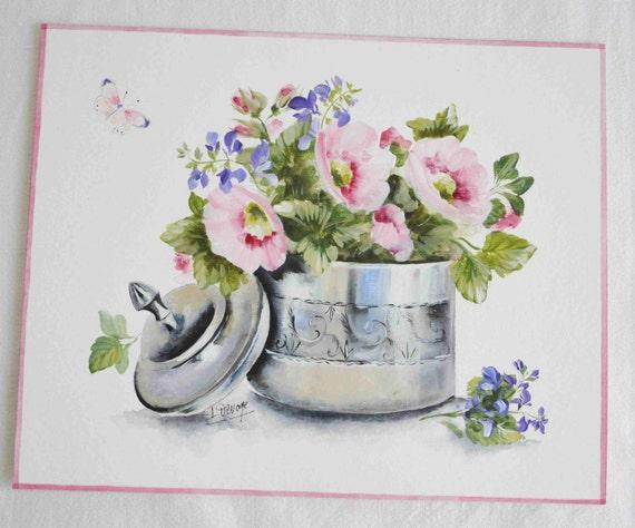 tableau fleurs peinture originale style campagne chic. Black Bedroom Furniture Sets. Home Design Ideas