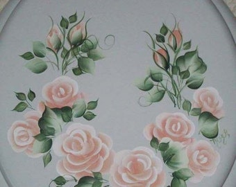 NEW* Round wood TOILET SEAT, Hand Painted, Peach Cottage Roses,  Floral,  Bathroom decor, Victorian, French Country, Powder Room