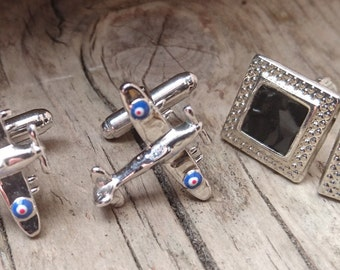 Two pairs of cufflinks spitfire and another
