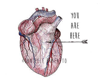 You Are Here <3 A4 Valentine's or Anniversary or Birthday Card
