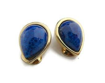 Blue gold Dior earrings Christian Dior Jewelry  Teardrop clip earrings High fashion earrings Designer earrings Mothers gift Girlfriend gift
