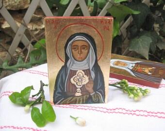 St Clare of Assisi, Saint Claire santa Clara , byzantine catholic miniature, roman catholic religious icon by angelicon