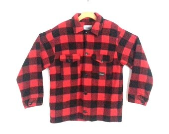 Vintage Wool Shirt Jacket Red Plaid Outdoorsmen Codet Medium