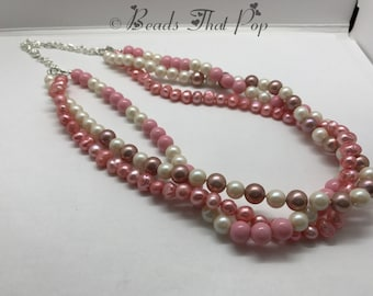 Pink & Cream Multistrand Necklace, Chunky Statement Necklace, Pearl Necklace, Classy Necklace, One-of-a-kind, Handmade, Versatile Necklace!