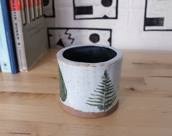 Handmade Ceramic Cup Candleholder With Plant Design