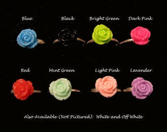 COLORFUL ROSE RING - Adjustable Resin Flower Ring - Choice of Ten Colors