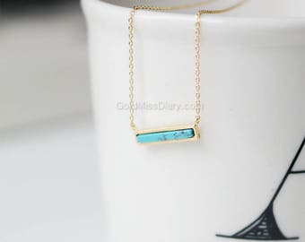 Turquoise Bar Necklace, Delicate Turquoise gold bar Necklace, Horizontal Bar Necklace, Layering Necklace, gemstone bar necklace, gift ideas,