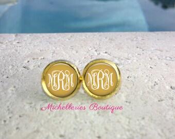 Gold Monogram Earrings, Monogram Jewelry, Monogram Accessories, Monogram Studs, Monogram Leverbacks, Gifts for her