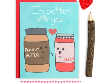 Food Puns, Valentines Day Card, I Love You Card, Boyfriend Card, Cute Funny Card, Hearts, Be Mine, For Girlfriend, Anniversary Card, Vday