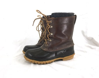 7 Men's / 9 Women's - Wool-Lined Brown Leather and Rubber LL Bean Boots