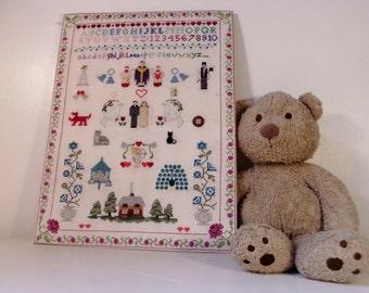 Personalised Wedding sampler, wedding cross stitch, wedding gift, wedding memories