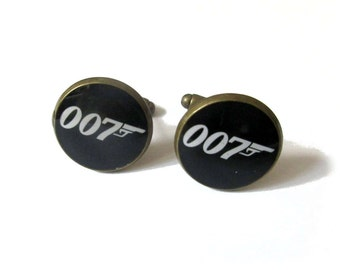 007 JAMES BOND inspired Cufflinks - Timeless mens jewelry - keepsake gift - classic cuff link accessories - gift for men - groom cuff links