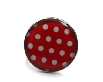 Red White POLKA DOT RING - Polka Dots Jewelry - White Polka Dots - Resin Ring - Toadstool Ring - Jewellery - Round Red Ring