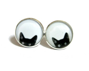 BLACK CAT EARRINGS - Peeking Cat earrings - cat studs - cat jewelry - black cat earrings - cats - black and white earrings - peeking cat