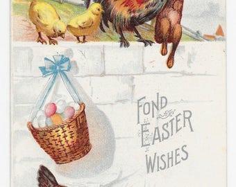 Rooster Befriends Bunny Easter Postcard, 1907