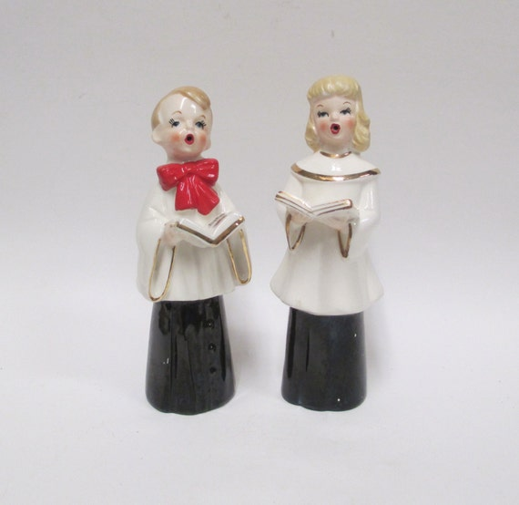 Vintage Ceramic Christmas Carolers Choir Boy And Girl