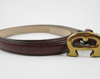 Etienne Aigner Oxblood Leather Belt Vintage Fashion