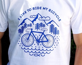 Men's bicycle t shirt, mens graphic tee, gift for man, White organic cotton t shirt, cyclist t shirt, mountains t shirt, camping t shirt