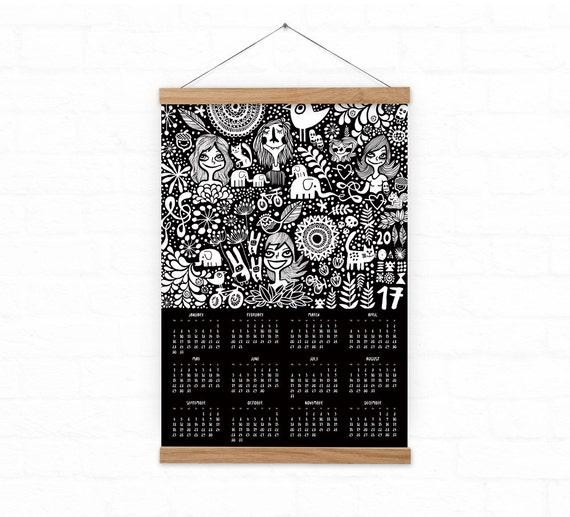 Calendario 2017 - decoración para el hogar - garabatos negro calendario - A3, A3 + tamaño de la pared