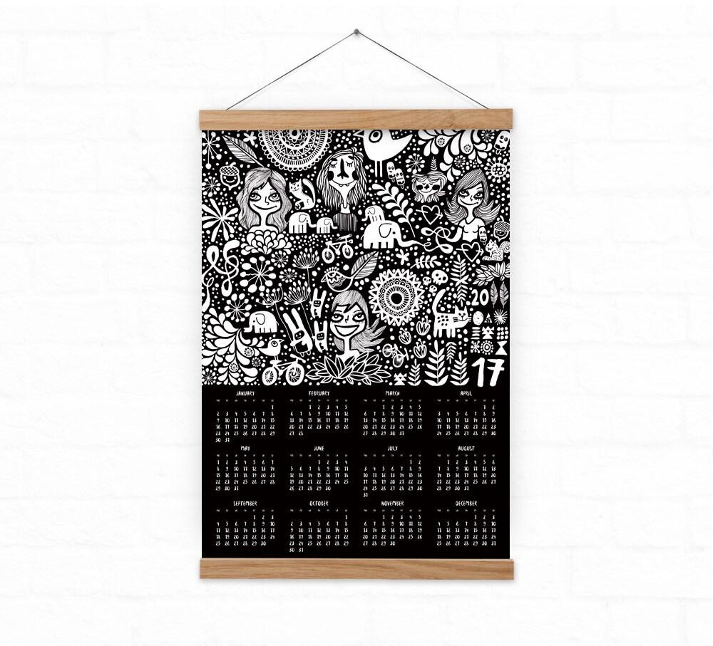 Wall Calendar 2017 Home Decor Doodles Black Calendar By Durido