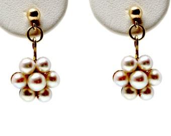 Natural Seed Pearl 1870-1880s flower earrings dangle