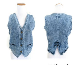 Vintage Denim Vest Jean Waistcoat Bow Back Acid Wash Washed 1990s 90s Button Up Size Small