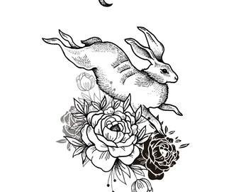 Giclee botanical art print. Hare, Peony and crescent moon illustration.