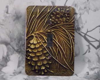 Metal Pinecone Light Switch Cover - Pine Cone Switch Plate - Single Toggle - 1T Single Gage