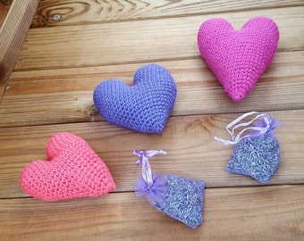 Lavender heart, crochet heart filled with lavender, moth repellent, wardrobe freshener, british lavender, love heart, home decor, love