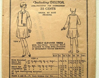Antique 20's Girls' Drop Waist Slipover Dress. Butterick 6624 Sewing Pattern. Size 6