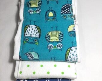 Diaper burp cloth set of 3 - Owls