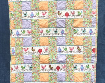 Sweet as a Songbird baby quilt, gender neutral, basket weave pattern
