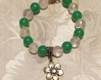Sale green and white beaded bracelet with flower charm