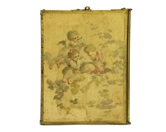 French Antique Folding Mirror with Bevel Cut Glass and Cherub Print.